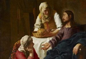 Jan Vermeer - Maria ai piedi di Gesù(olio su tela, 1654 ca)